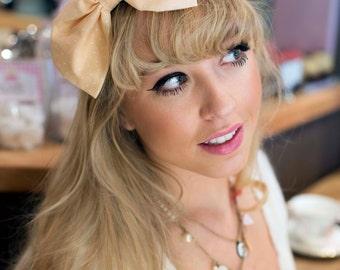 Peach Pastel Bow Headband, Dolly Bow, Bow Headband, Rockabilly Pin Up Girl Headband, Oversized Bow Headband, Kawaii Lolita Headband