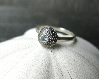 tiny SEA URCHIN sterling silver pisces ring with aquamarine gemstone Made to Order