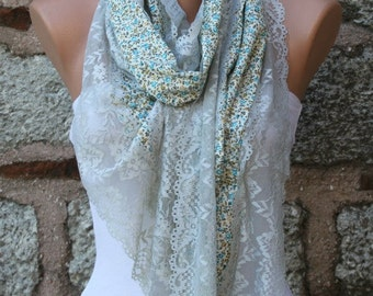 Refresh Scarf Floral Lace Scarf, summer, Cowl Shawl Bridesmaid Gift Bridal Accessories Gift Ideas For Her Women Fashion Accessories