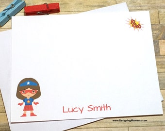 Super Hero Stationery - Girls Superhero Note Cards - Stationary - Thank You Cards - Personalized Cards - Super Hero Cape and Mask