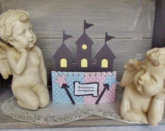 Mixed invitation for baptism baby twins with envelope