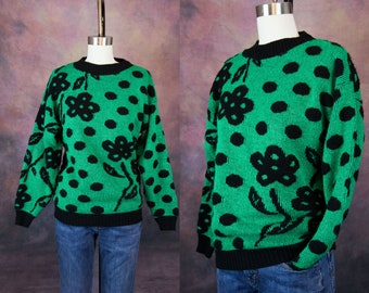 80s Green and Black Flower-Polka-Dot Sparkle Sweater