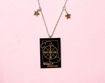 Wheel of fortune tarot card necklace Witch jewellery Fortune telling Tarot card jewellery Mystical necklace Magic Tarot Curiology Gothic