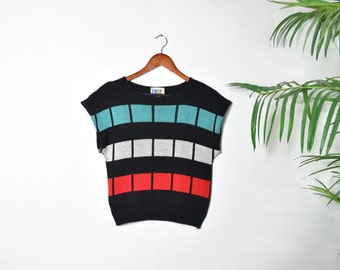 Vintage Color Block Sleeveless Sweater