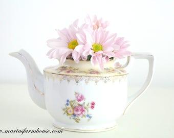 TEAPOT, Vintage Porcelain Tea Pot by Gold Castle, Japan, Repurposed Vase, Tea Party