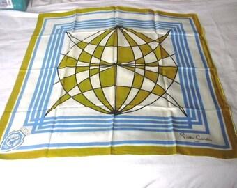 Pierre Cardin Paris Bright Blue Yellow Gold  Lyon France French Designer JCI Globe Op Art 1960s Silk Scarf