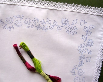 Unique Embroidery, Tray Cloth, featuring an Embroidery Design, Embroidery Pattern, Floral Embroidery, Hand Embroidery, Unique Gift