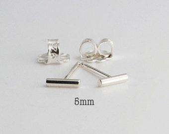 Very Tiny 5mm Silver Bar Studs, Tiny Bars Studs Silver Studs, Handmade Studs, Bar Studs, Silver Stick Line Earrings, 5 x 1.3mm