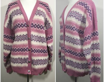 Icesheeep Pure Wool Cardigan // Pink, Purple and Cream Wool Ice Sheep Sweater, Cardigan