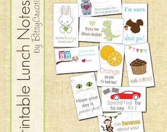 Sale: HALF OFF Printable Lunch Notes by BitsyCreations Instant Download