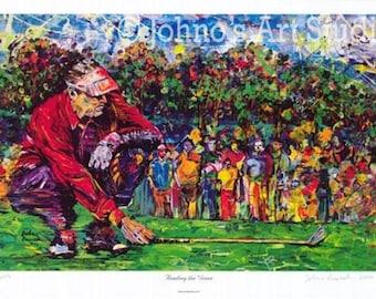 Golf art, Golfing art, Man cave wall art, reading the green painting, Golf Green, Golf art by Johno Prascak Limited Edition Print