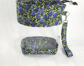 Small Clear Knitting Project Bag, Bluebonnets w/ Daisy Flowers, Clear Vinyl Bag, Sock Knitting Bag, Clear window drawstring bag CVS0062