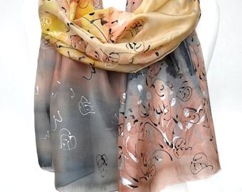 Silk Painting. Birds Silk Scarf. Landscape Design. Hand Painted Scarf. Genuine Silk Art. Woman Birthday Gift 18x71in. MADE to ORDER