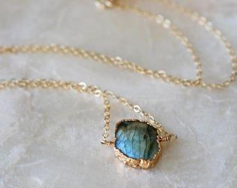 Labradorite Necklace, Layering Necklace, Simple Labradorite Necklace, Labradorite Pendant, Labradorite Layering Necklace, Simple Necklace
