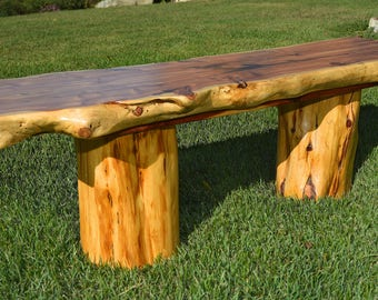 Custom built aromatic cedar bench. This one of a kind cedar bench makes a perfect addition to any porch, deck or garden.