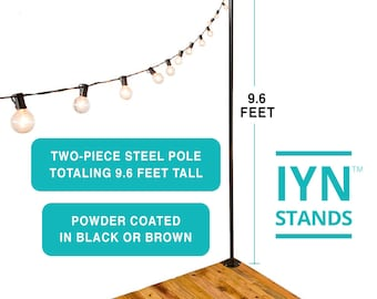 IYN Pole Stands (BLACK) - Hang string lights, shading or privacy screening