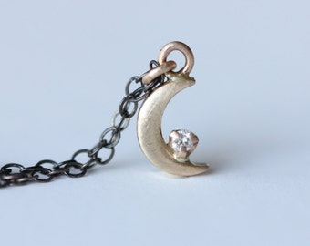 Diamond Crescent Moon Necklace - 14k Yellow Gold Recycled Gold Pendant - Oxidized Sterling Silver Chain - Mixed Metal Necklace - Boho Moon