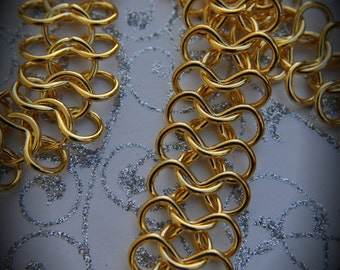 12 Inch Gold Plated Steel Handmade Chainmaille Chain
