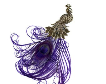 Victorian Bronze Peacock steamping with Royal Purple Peacock feather plume tail  (1 Piece) use on fascinators hats,wedding decoration,wreath