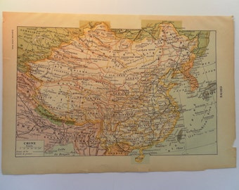 Vintage Map of China 1920s in French