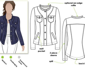 Cindy Jeans Jacket // Sizes 10, 12 & 14 // Women's Jacket PDF sewing pattern by Style Arc // DIY clothing // Sewing Projects