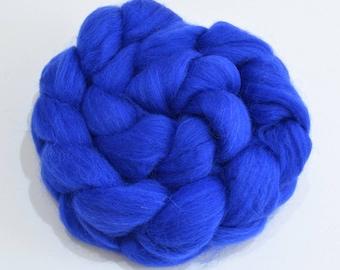 Merino Wool Combed Top - Royal Blue - Spinning - 100 grams