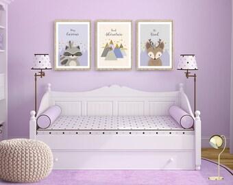 Purple nursery set, Lavender print set nursery, Lavender nursery print set of 3, Woodlands nursery, Forest friends, Deer, Raccoon, Mountains