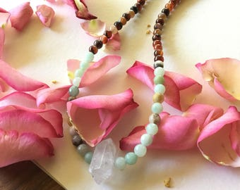 Healing Amazonite, red agate and crystal Choker Necklace