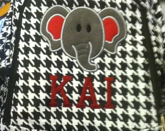 Houndstooth Backpack for the Alabama Crimson Tide Fan Elephant Applique and Name Included - Your choice of colors on monogram/applique