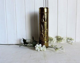 WW1 Trench art vase, vintage French military memorabilia, cartridge or bomb shell