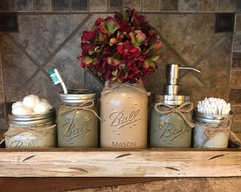 MASON Jar Bathroom Decor Antique White TRAY SET, Cotton Ball, Toothbrush  Holder, Quart