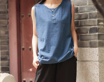 Spring and summer cotton and linen t-shirt – Artistic casual loose cotton and linen sleeveless blouses