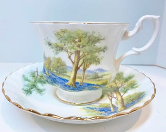 Royal Albert Tea Cup and Saucer, English Tea Cups, Antique Teacups, Bone China Cups, Tea Cups Vintage, Woods Tea Cup, Scenic Cups