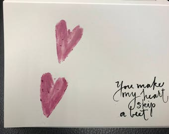 Handmade beet stamped valentine