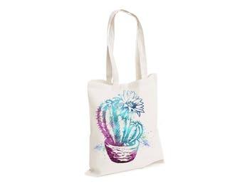 Plants cactus - Watercolour watercolor Tote Canvas bag, White, Reusable Shopping Bag