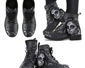 Calavera Mexican Skull Women Colorful Leather Women Boots