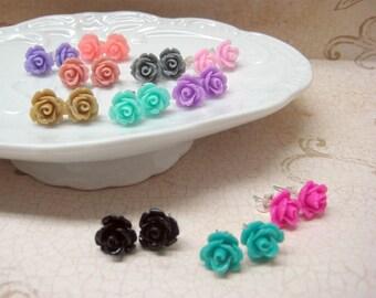 SALE - Three Pairs - Rose Stud Earrings - You Choose - 24 Colors