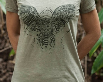 Organic Owl Love Females Scoop Neck T-shirt - Light Khaki
