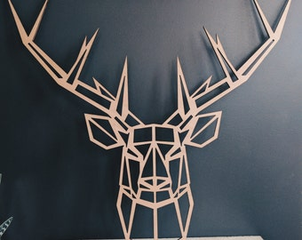 Large geometric deer head in okoumé wood (55cm x 50cm)
