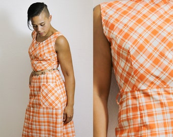Plaid Dress Orange and white dress Long Plaid Dress Gingham Dress