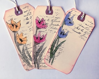Hand Painted Gift Tags /Watercolor/Floral/Vintage Edged/Antiqued Lettering/Free Shipping