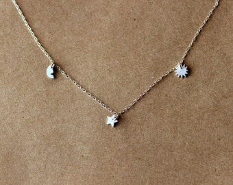 Silver Moon Star Sun Necklace - Sterling Silver Necklace - Silver Jewelry - PMC - Metal Clay -  Everyday - Gift
