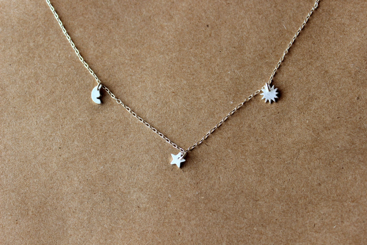Super Silver Moon Star Sun Necklace Sterling Silver Necklace XI45