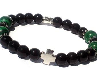 MENS Onyx Bracelet, Green Malachite Men's Beaded Bracelet, Men Cross Bracelet, Mens Black Green Bead Bracelet, Onyx Malachite Mala Bracelet