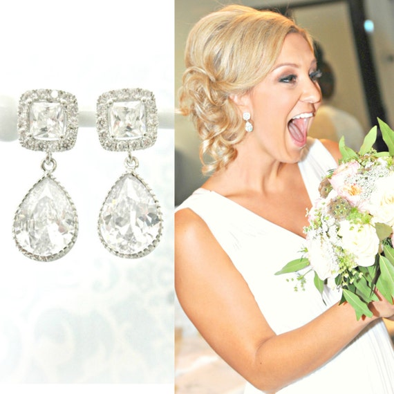 Square Cushion Cut Wedding Earrings Rhinestone Bridal