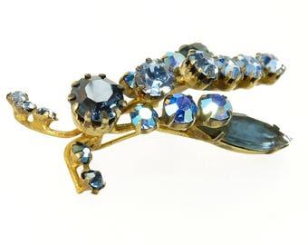 Art Deco Insect Brooch Blue Austrian Crystal Rhinestone Brooch