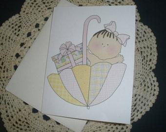 Baby Girl Umbrella Note Cards ~ 12