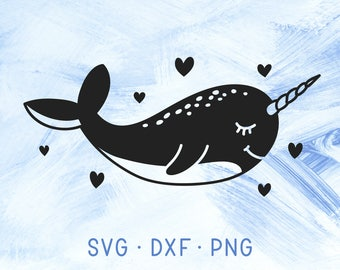 Narwhals SVG Cricut Narwhale Clipart, Baby Shower Decor, Nautical Svg DXF PNG, Narwhal Svg Cutting Files, Ocean Sea Creature Vector Svg File