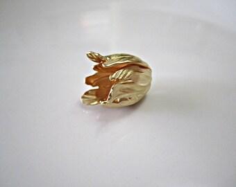 Antique Matte Gold Brass Tulip Bead Caps Gold Tulip Bead Caps Brass Bead Caps Matte Gold Metal Bead Caps 20x17mm (1 pc) 33MV3
