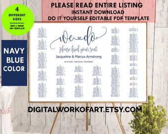 Floral wedding seating chart cards template diy seating card navy blue wedding seating chart template editable seating plan pdf template seating chart template solutioingenieria Images